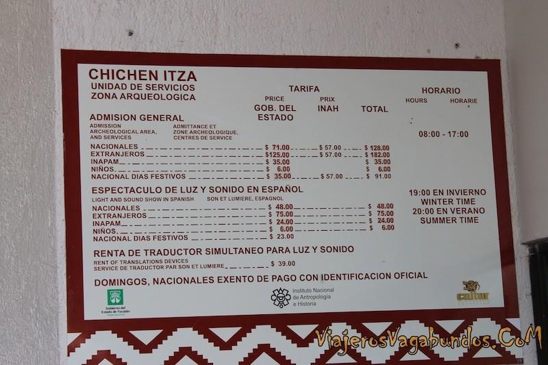 Precios para Chichén
