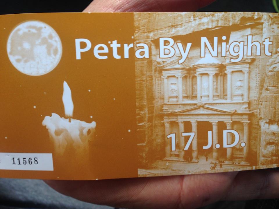 ticket Petra de noche